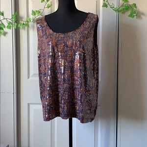 Ruby Rd. Lx  pumpkin/navy blue tank top